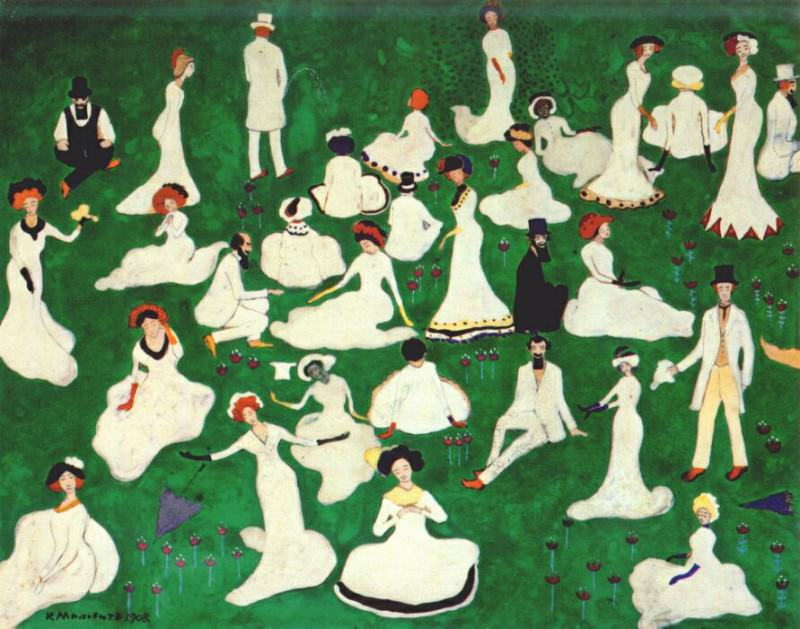malevich relaxing (high society in top hats) 1908. Kazimir Malevich