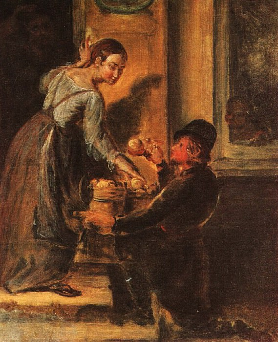 Покупка яблок у разносчика. Этюд. 1830-е. Vasily Tropinin