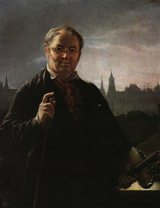 Self-portrait with brushes and a palette against the background of a window overlooking the Kremlin. Vasily Tropinin
