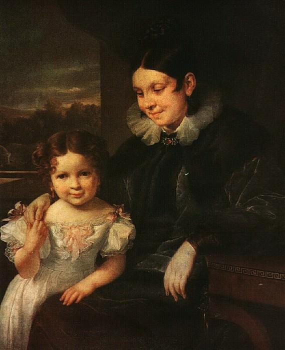 Портрет В. И. Ершовой с дочерью. 1831. Vasily Tropinin