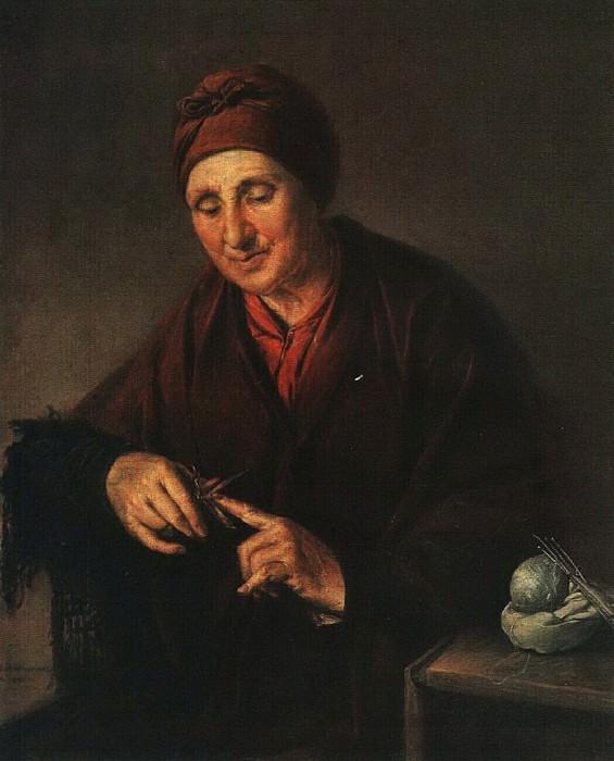 Старуха, стригущая ногти (Портрет жены художника). 1850. Vasily Tropinin