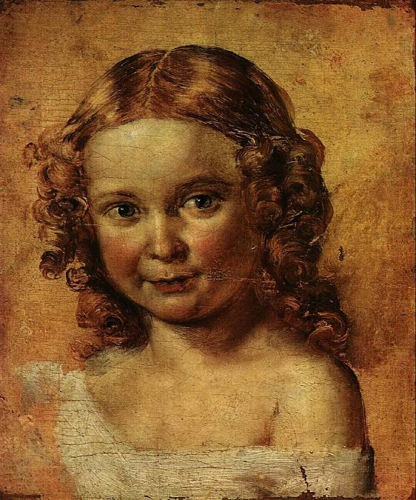 Голова девочки. Этюд к портрету В. И. Ершовой с дочерью. 1831. Василий Андреевич Тропинин