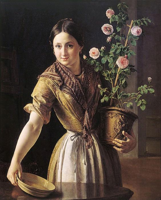 Девушка с горшком роз 1850. Холст, масло. 100х81 см. Vasily Tropinin