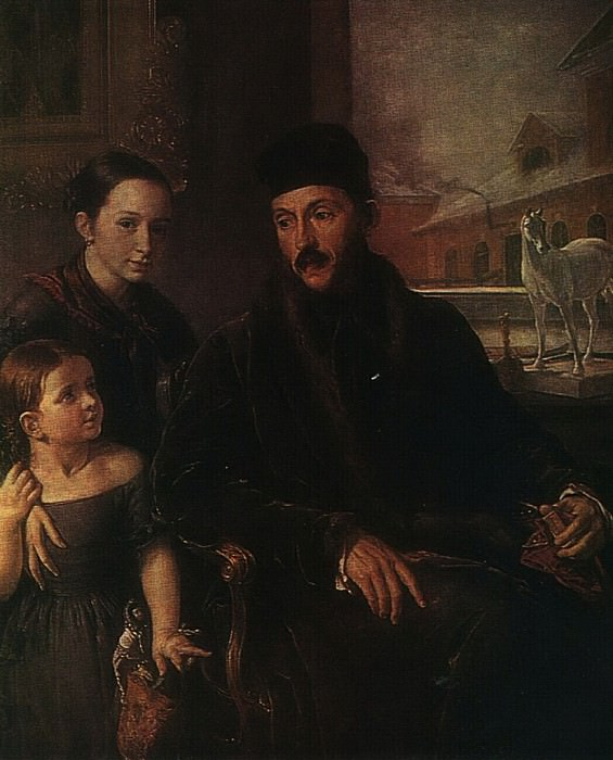 Портрет Д. П. Воейкова с дочерью и англичанкой мисс Сорок. 1842. Vasily Tropinin