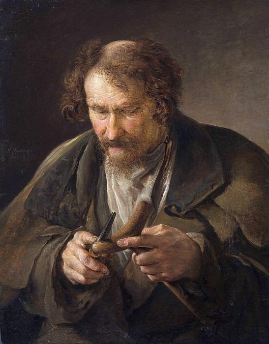 Peasant shaving a crutch. Vasily Tropinin