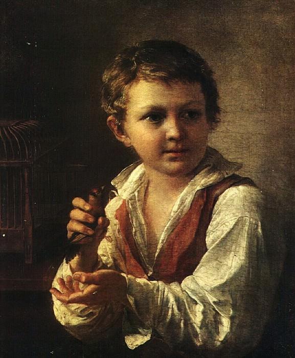 Мальчик, выпускающий из клетки щегленка. 1825. Vasily Tropinin