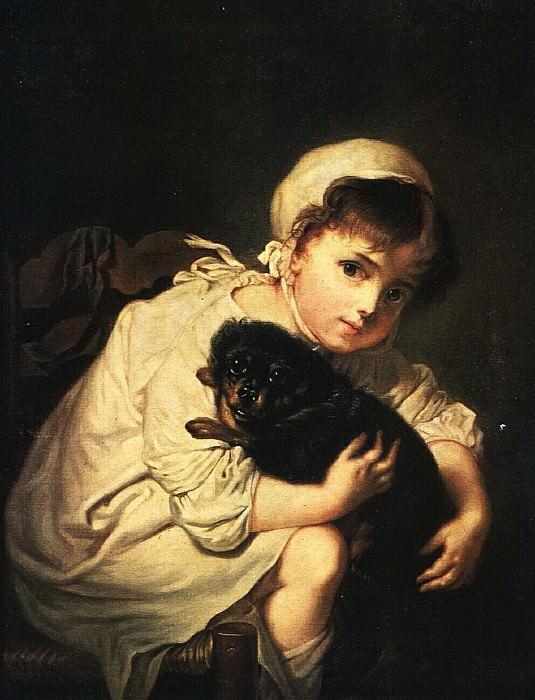 Девочка с собакой. Копия картины Ж.-Б. Греза. 1820—1830-е. Vasily Tropinin