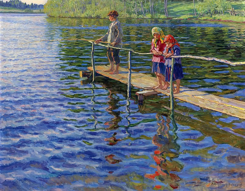 Fishing by the river. Nikolai Petrovich Bogdanov-Belsky