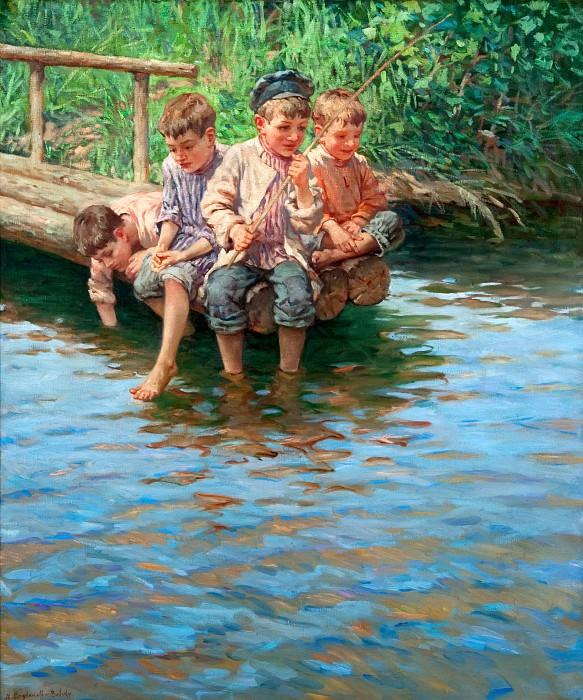 Четыре мальчика рыбачат на берегу. Николай Петрович Богданов-Бельский