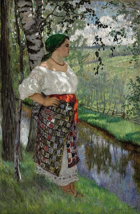 Peasant woman by a brook. Nikolai Petrovich Bogdanov-Belsky
