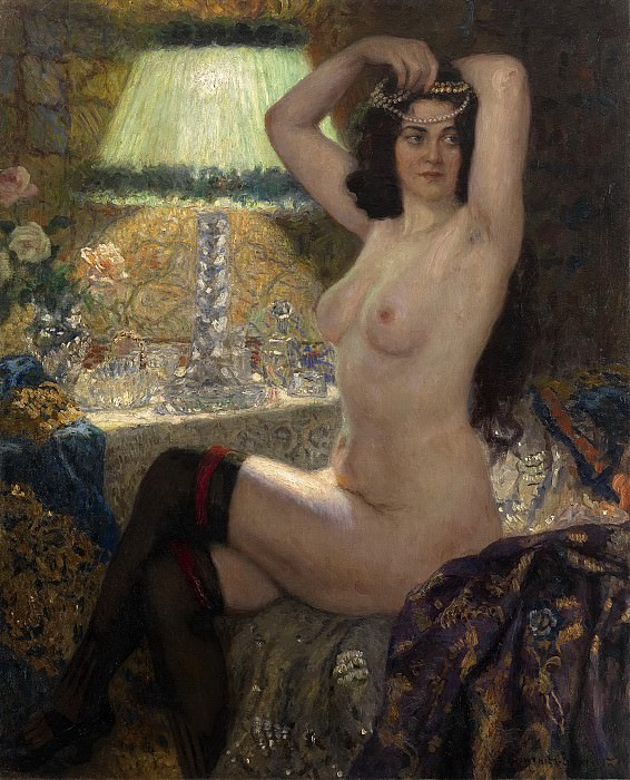 By the green lamp. Nikolai Petrovich Bogdanov-Belsky