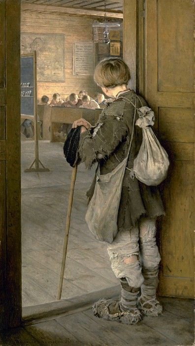 At the Door of the School. Nikolai Petrovich Bogdanov-Belsky