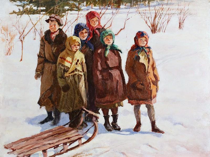 Children with a sled. Nikolai Petrovich Bogdanov-Belsky
