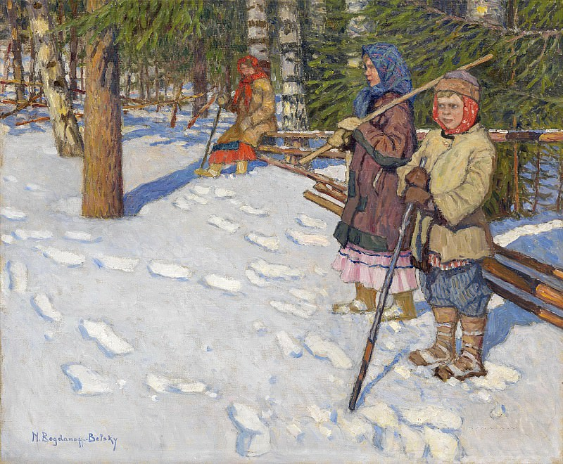 Children in a Wintry Forest. Nikolai Petrovich Bogdanov-Belsky