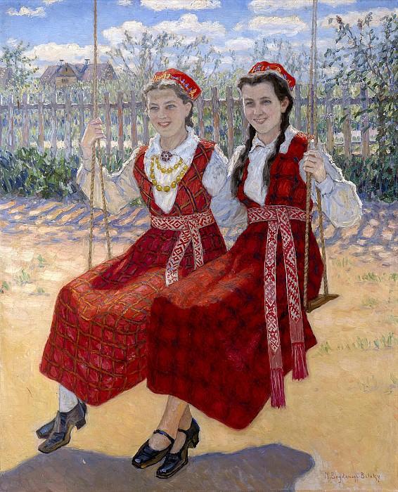 Две девушки на качелях. Николай Петрович Богданов-Бельский