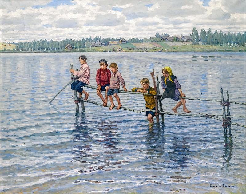 Children At A Lake In Lettgallia. Nikolai Petrovich Bogdanov-Belsky