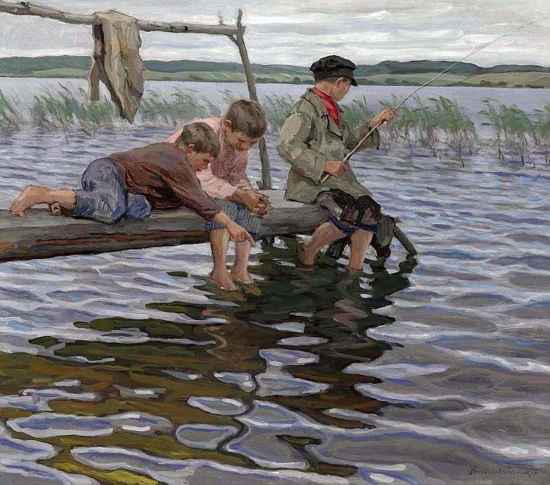 Рыбалка детей с мостков. Николай Петрович Богданов-Бельский