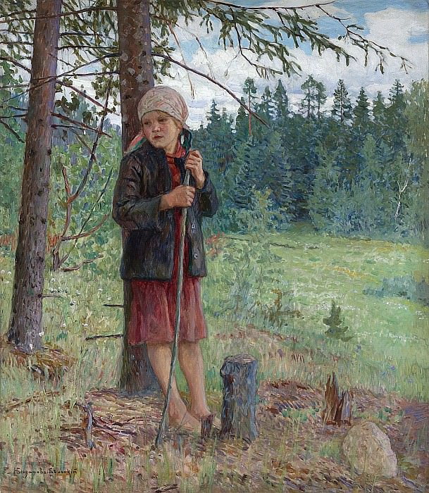 The girl in the woods. Nikolai Petrovich Bogdanov-Belsky