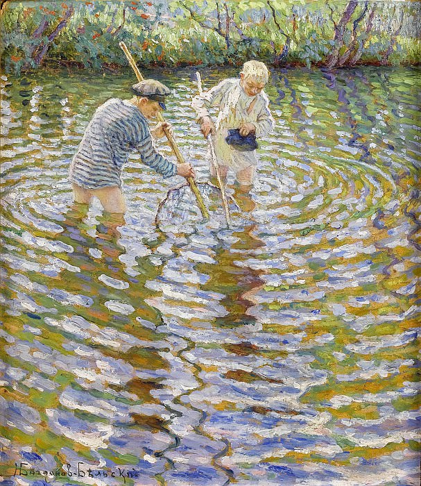 Young boys fishing for crayfish. Nikolai Petrovich Bogdanov-Belsky