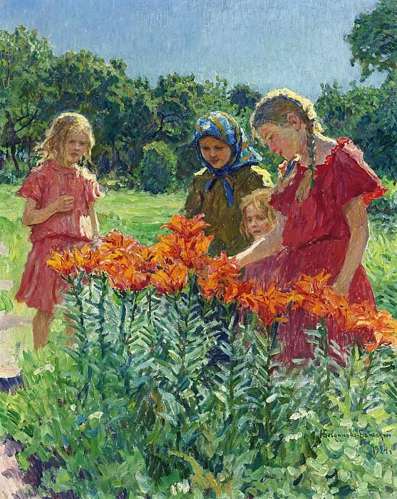 Сбор цветов. Николай Петрович Богданов-Бельский