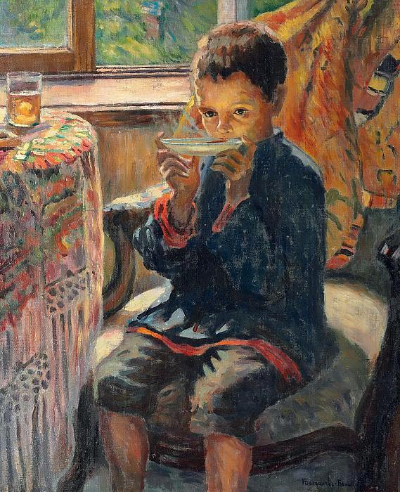 A young boy drinking tea. Nikolai Petrovich Bogdanov-Belsky