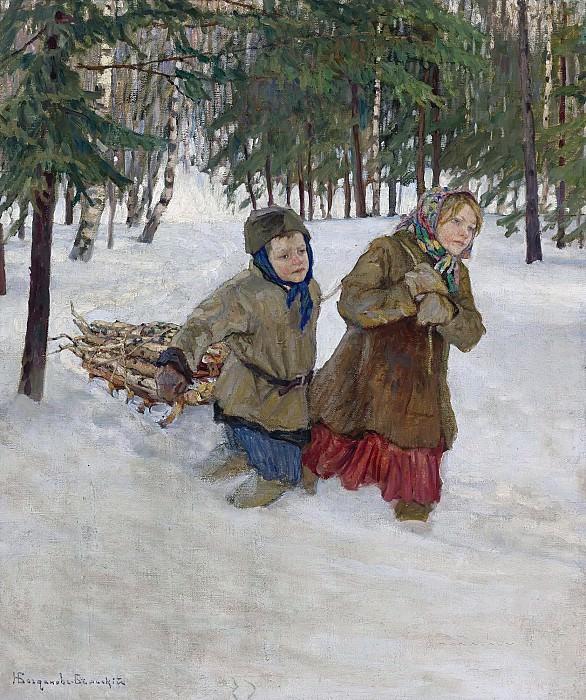 Trudging the logs in winter snow. Nikolai Petrovich Bogdanov-Belsky