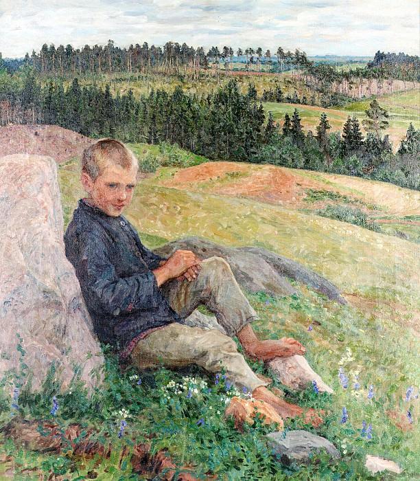 Boy resting in an extensive summer landscape. Nikolai Petrovich Bogdanov-Belsky