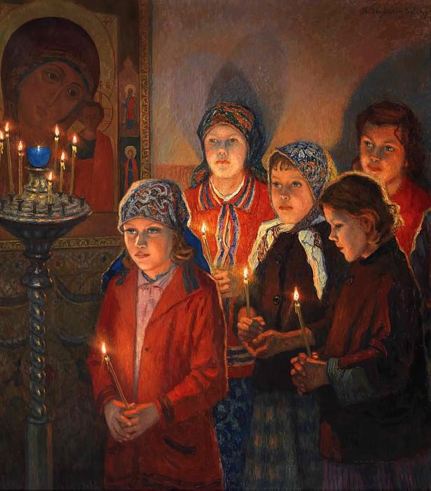 In the church. Nikolai Petrovich Bogdanov-Belsky
