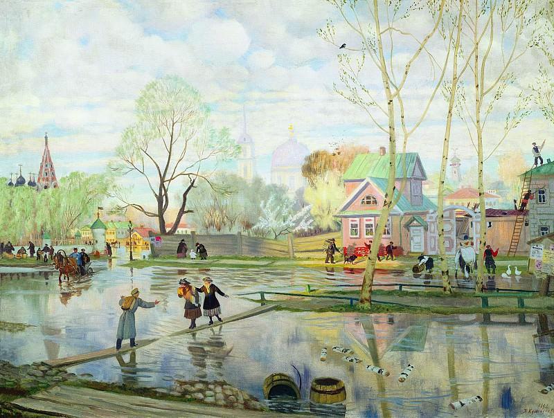 Борис КУСТОДИЕВ 1878 1927 Весна Холст масло. Boris Kustodiev