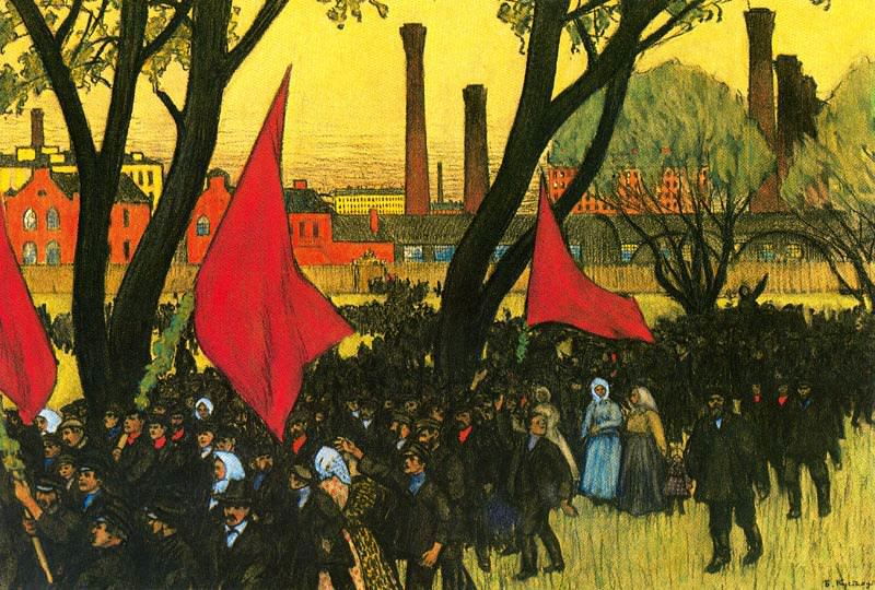 May Day Demostration at the putilov Plant. Boris Kustodiev