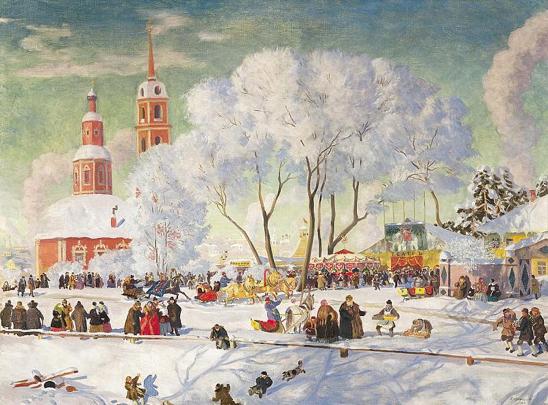 Масленица 1920 холст масло 69х90 см. Борис Михайлович Кустодиев
