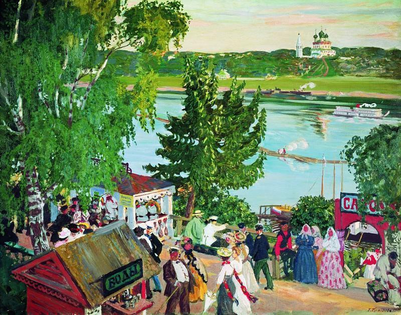 Борис КУСТОДИЕВ 1878 1927 Гуляние на Волге 1907 Холст масло. Борис Михайлович Кустодиев