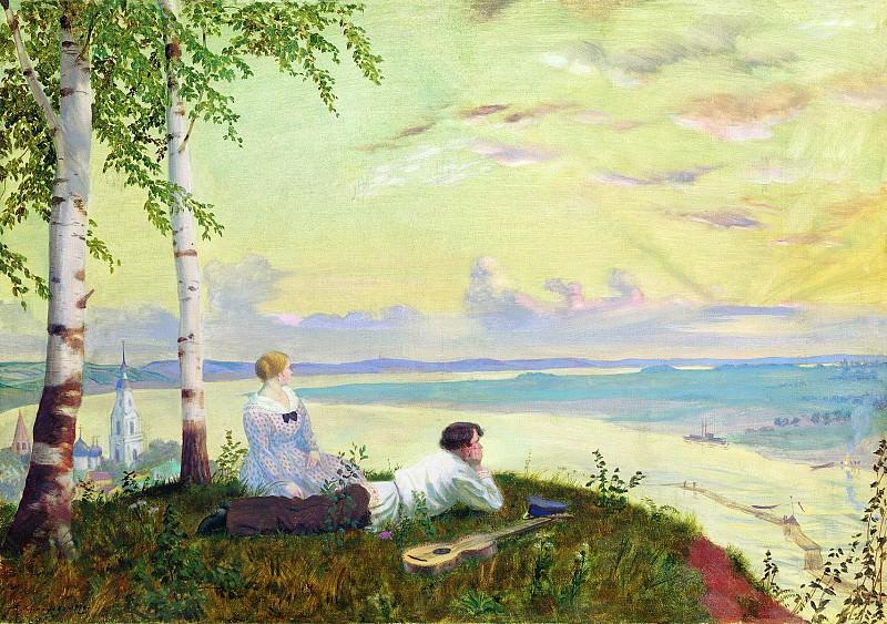 Борис КУСТОДИЕВ 1878 1927 На Волге 1922 Холст масло. Boris Kustodiev