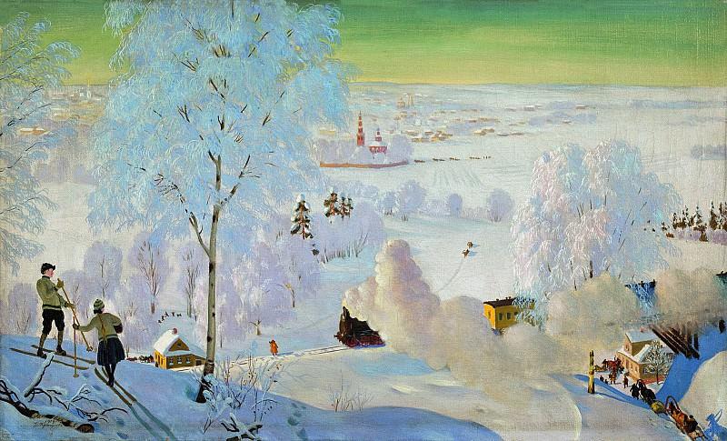 Борис КУСТОДИЕВ 1878 1927 Лыжники 1919 Холст масло. Boris Kustodiev