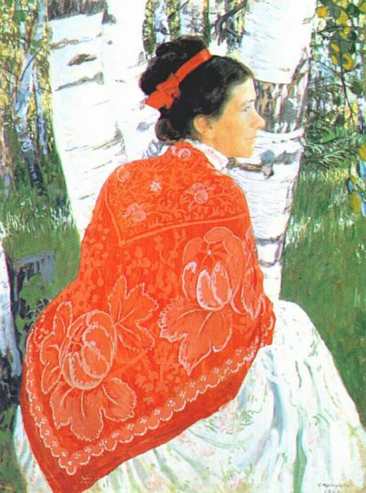 kustodiev the artists wife 1909. Борис Михайлович Кустодиев