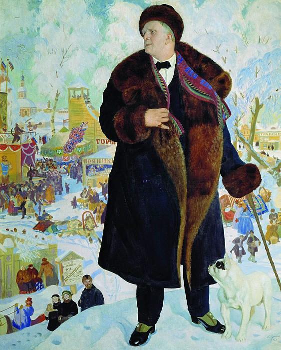 Борис КУСТОДИЕВ 1878 1927 Портрет Шаляпина Холст масло. Boris Kustodiev