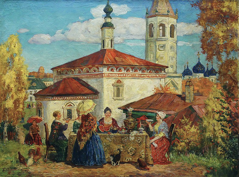 Борис КУСТОДИЕВ 1878 1927 В старом Суздале Холст масло. Борис Михайлович Кустодиев