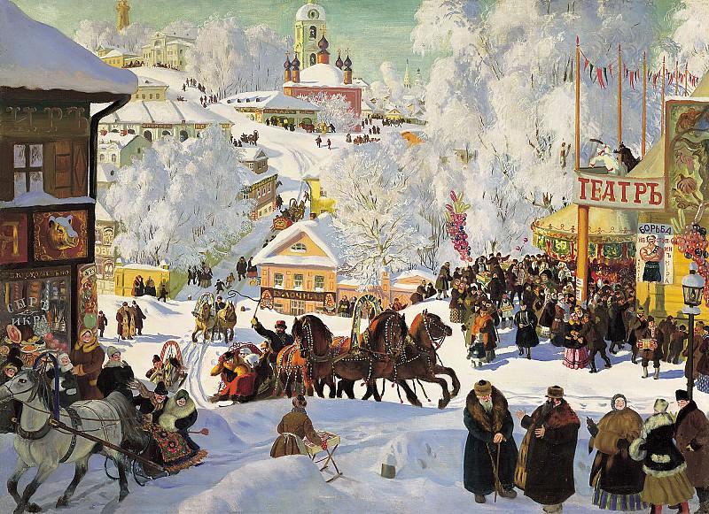 Масленица 1919 холст масло 71х98 см. Борис Михайлович Кустодиев