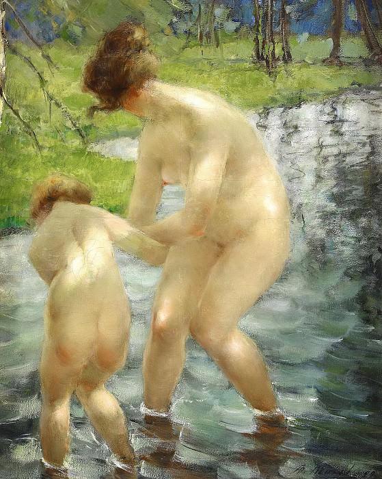 Купающиеся мать и ребенок. Виталий Гаврилович Тихов