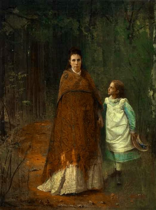 Kramskoi In the Park. Portrait of the Artist-s Wife and Daughter. Ivan Kramskoy