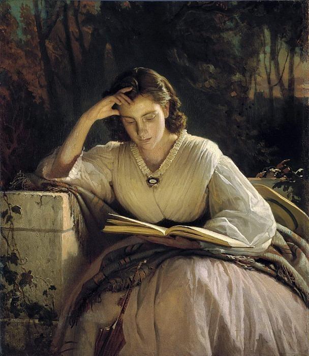 Reading. Portrait of Sofia Nikolaevna Kramskoy (1840-1919), the artist's wife. Ivan Kramskoy