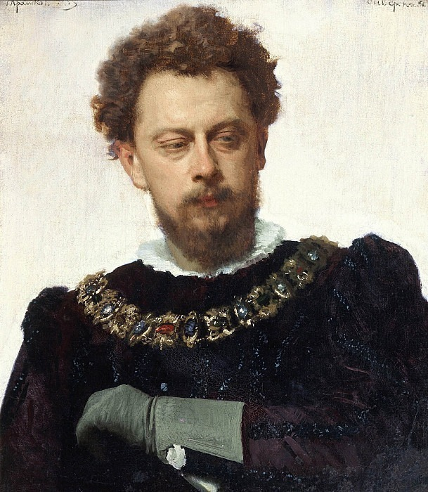 """Actor A.P. Lensky as Petruchio in Shakespeare's comedy """"The Taming of the Shrew"""". Ivan Kramskoy"""