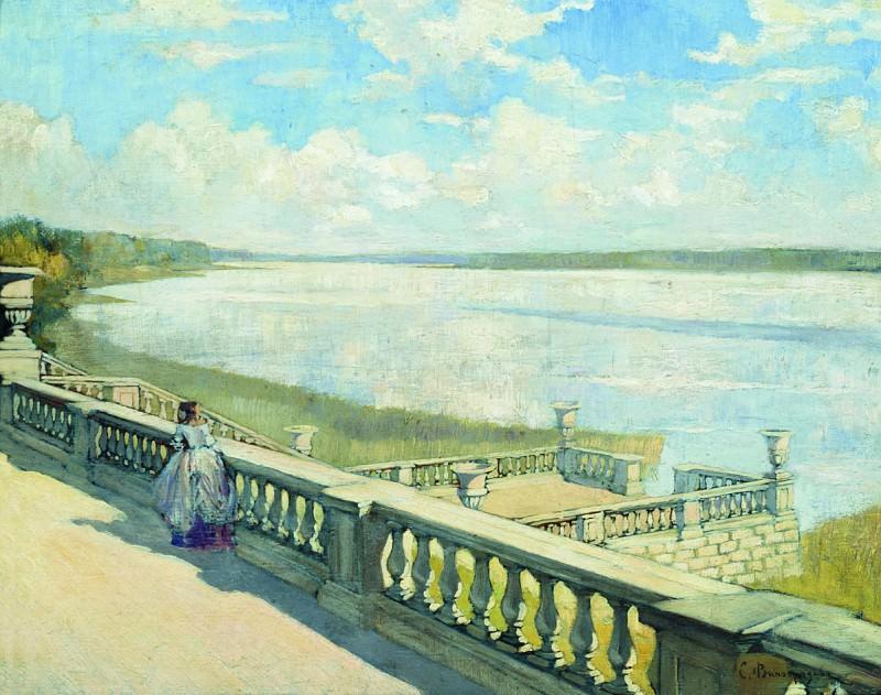 Солнечный день. Дама у балюстрады. Около 1908. Sergey Vinogradov