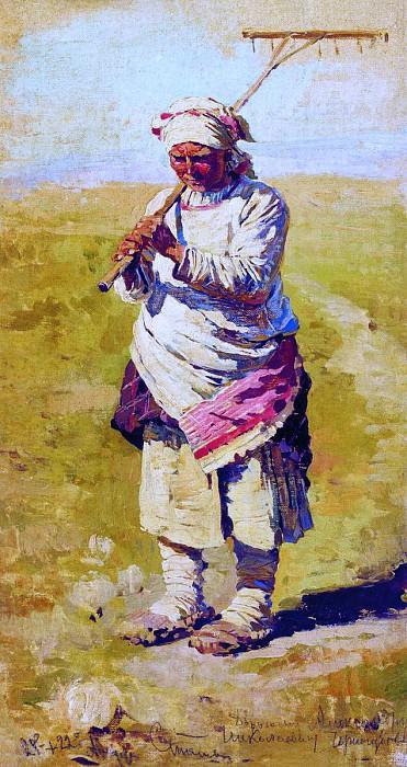 Крестьянка с граблями. Поденщица. Этюд. 1891. Сергей Арсеньевич Виноградов