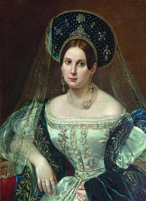 Портрет неизвестной в придворном русском платье 1835. Pimen Orlov