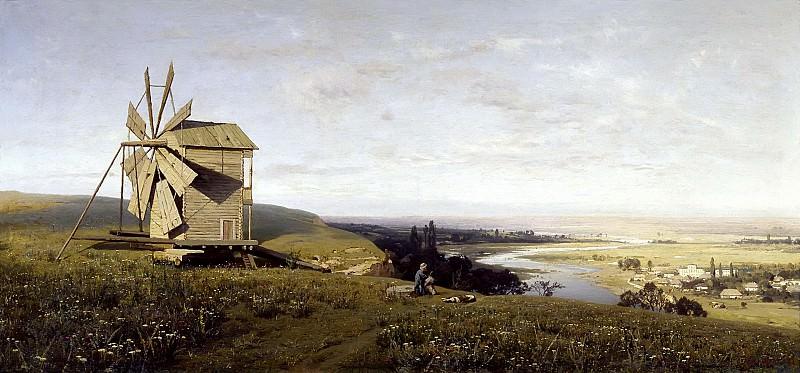 Украинский пейзаж с ветряной мельницей. 1882. Vladimir Orlovsky