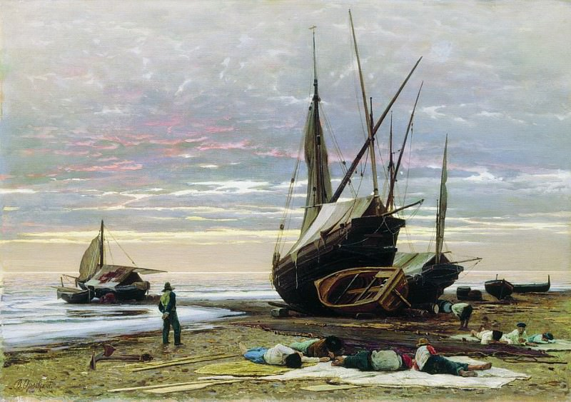 Вечер. Берег моря. 1874. Владимир Орловский