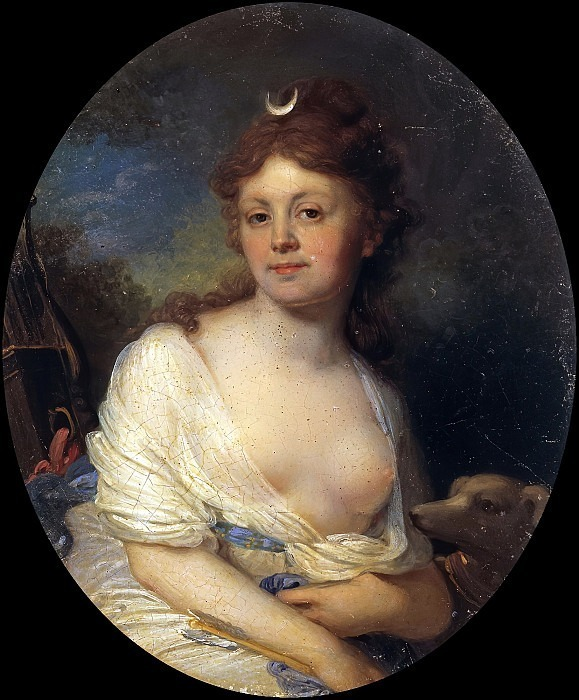 Portrait of Elizabeth Grigoryevna Temkina in the image of Diana. Vladimir Borovikovsky