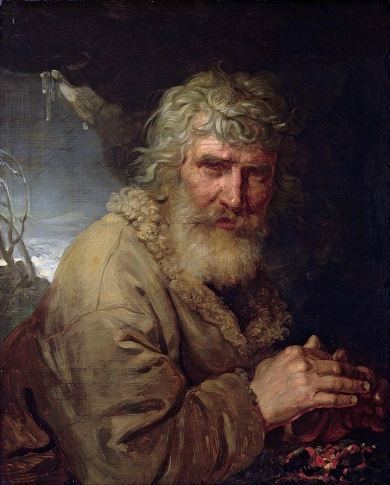 Allegory of winter in the form of an old man warming his hands by the fire. Vladimir Borovikovsky