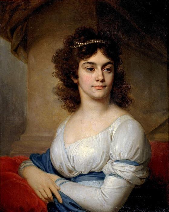 Портрет неизвестной в белом платье с голубым поясом. Владимир Лукич Боровиковский